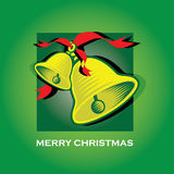Merry Christmas Bells Green Greeting Card. Beautiful green Christmas card with hand bells wishing Merry Christmas Stock Image