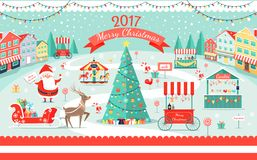 Merry Christmas 2017 Big Festive Fair Promo Poster. Merry Christmas 2017 festive fair poster with cheerful Santa Claus, decorated spruce, candies stores and Stock Images