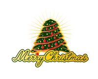 Merry christmas with big tree. With gold stripes and gold circles, illustration design, isolated on white background Royalty Free Stock Photo