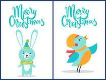 Merry Christmas Bird and Bunny Vector Illustration Stock Photography