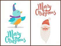 Merry Christmas Bird and Claus Vector Illustration. Merry Christmas, bird dressed in hat and purple scarf and image of Santa Claus that symbolize approaching of Stock Image