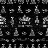 Merry Christmas bird, ribbon seamless pattern background EPS10 f Stock Image