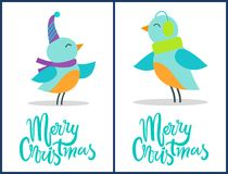 Merry Christmas Birds Festive Congratulations. Isolated on white background. Vector illustration colorful happy smiling birdies in warm winter clothes Royalty Free Stock Image