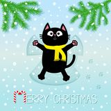 Merry Christmas. Black cat laying on back. Making snow angel. Fir tree. Branch spruce Firtree. Moving paws. Cute cartoon funny cha. Racter Paw print track. Flat Stock Photo