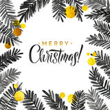 Merry Christmas Black and Gold Card. Golden Shiny Glitter  Watercolor Tree Branches. Calligraphy Greeting Poster. Merry Christmas Black and Gold Card. Golden Stock Photography
