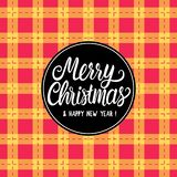 Merry Christmas Black hand drawn lettering text inscription. Vector illustration Checkered red yellow orange background royalty free illustration