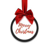 Merry Christmas black round banner with red ribbon and bow. Stock Image