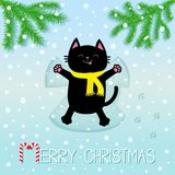 Merry Christmas. Black smiling cat laying on back. Making snow angel. Moving paws. Fir tree. Branch spruce Cute cartoon funny char. Acter Paw print track. Flat Royalty Free Stock Image