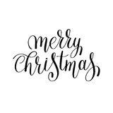 Merry christmas black and white handwritten lettering inscription Stock Photography