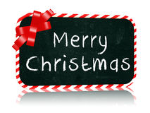 Merry Christmas blackboard banner with ribbon Stock Image