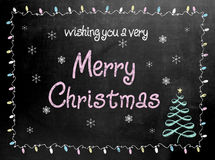Merry Christmas blackboard chalkboard sign Royalty Free Stock Images