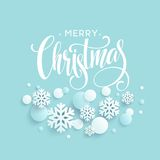 Merry Christmas blue background with papercraft snowflake. Greeting lettering card. Vector illustration Stock Image