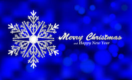 Merry Christmas blue background with silver snowflake. Holiday Bokeh background decorated with shining snowflake. Vector and raster versions Royalty Free Stock Photos