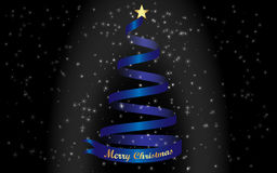 Merry Christmas and a blue Christmas tree Stock Image