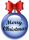 Merry Christmas blue decorative ball bow. Merry Christmas decorative ball with bow isolated on white Stock Photo