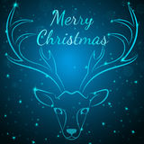 Merry Christmas blue deer Stock Images