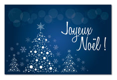 Merry christmas blue french  greeting card in french illustration Stock Photo