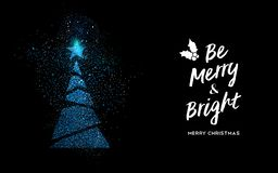 Merry Christmas blue glitter pine tree shape card stock illustration