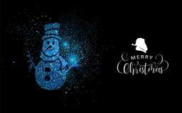 Merry Christmas blue glitter snowman shape card stock illustration
