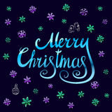 Merry Christmas - blue glittering lettering design with snowflakes pattern. Art Royalty Free Stock Images