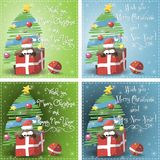 Merry Christmas blue, green greeting card vector Stock Photo