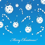 Merry Christmas. Blue Greeting Card With Balls and Candles vector illustration