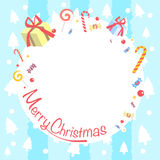 Merry Christmas Blue Greeting Card invitation. Royalty Free Stock Images