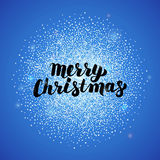 Merry Christmas Blue Greeting Card. Vector Illustration of Calligraphy with Snow Silver Decoration Royalty Free Stock Images