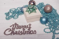 Merry Christmas Blue Holiday Fir Tree Toy Decor Star Ball Gift Magic Composition royalty free stock photos