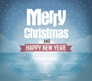 Merry Christmas Blue Ice Background Design Stock Photography