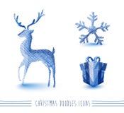 Merry Christmas blue sketch style elements set EPS Stock Photos