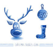 Merry Christmas blue sketch style elements set EPS Royalty Free Stock Image