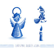 Merry Christmas blue sketch style elements set EPS Royalty Free Stock Photo