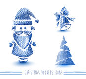 Merry Christmas blue sketch style elements set EPS Stock Photo