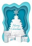 Merry Christmas Paper Fir-tree and Presents Vector. Merry Christmas blue and white paper cut. Fir-tree with big star and four different presents with bows vector illustration