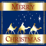 Merry Christmas Blue Wisemen Royalty Free Stock Photography
