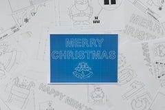 Merry Christmas Blueprint Stock Image
