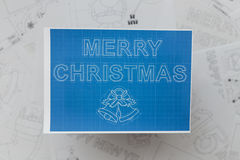 Merry Christmas Blueprint Royalty Free Stock Images