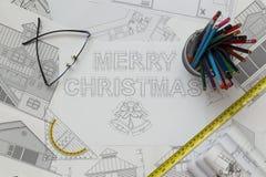Merry Christmas Blueprint Royalty Free Stock Photos