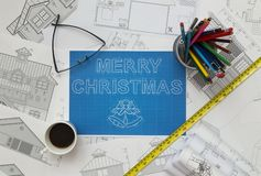 Merry Christmas Blueprint. Shoot of Merry Christmas Blueprint royalty free stock images