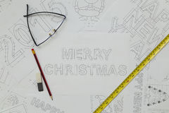 Merry Christmas Blueprint Royalty Free Stock Image