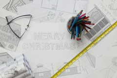 Merry Christmas Blueprint Stock Images