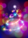 Merry christmas bokeh background star pine tree. Merry christmas holiday greeting card design with colorful bokeh lights background blur and sparkle stars making Royalty Free Illustration