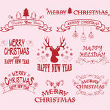 Merry Christmas Border Frames,Banner,Christmas Deer,Christmas Font Elements. Royalty Free Stock Photos
