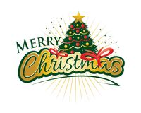 Merry Christmas with bow. Christmas tree with gift bow and colorful circles and rays, illustration design, isolated on  white background Stock Photo