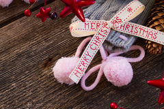 Merry christmas bow with  wool socks Royalty Free Stock Photos