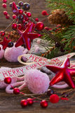 Merry christmas bow with  wool socks Stock Photography