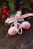 Merry christmas bow with  wool socks Royalty Free Stock Images