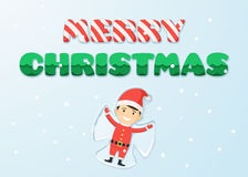 Merry Christmas and boy in the costume of Santa. Inscription merry Christmas with the texture of candy and tree in the snow and boy in the costume of Santa Claus Royalty Free Stock Photo