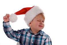 Merry Christmas Boy with Santa Hat Royalty Free Stock Photo